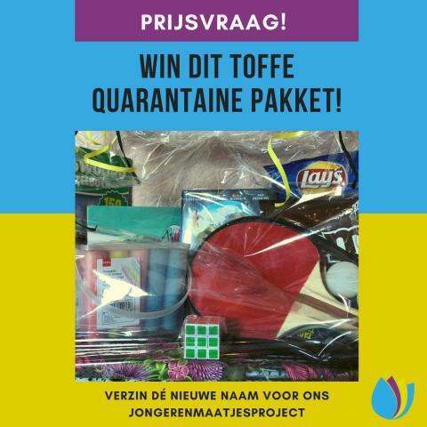 Een paars, blauw, groene achtergrond met de tekst 'Win dit toffe quarantaine pakket' en een foto met chips, stoepkrijt, een pingpongset, een dvd, puzzelboekje, rubikskubus en m&m's.
