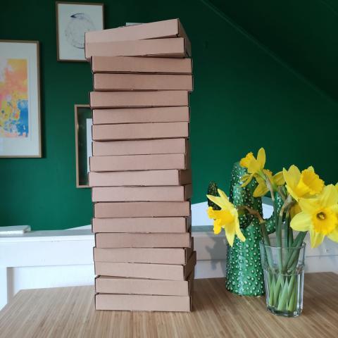 Foto van een stapel kartonnen doosjes met daarnaast narcissen in een vaas, tegen een groene muur